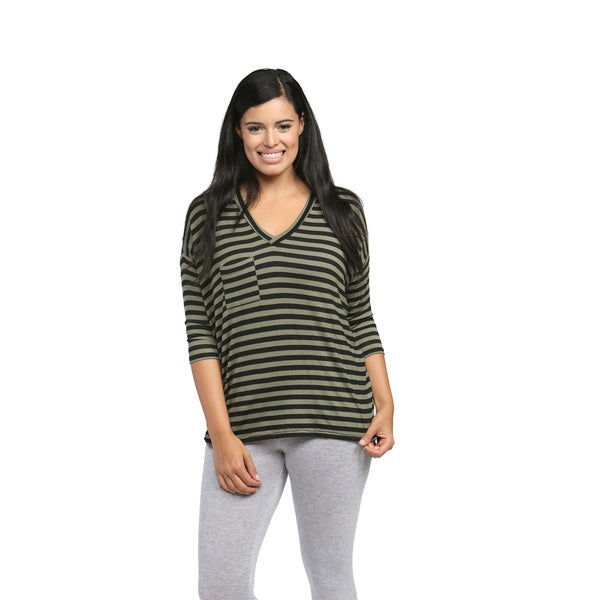 24/7 Comfort Apparel Women's Green Striped Dolman Top