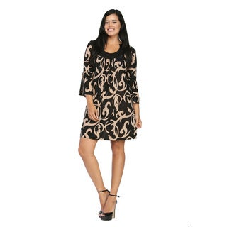 24/7 Comfort Apparel Women's Cream and Black Printed Dress