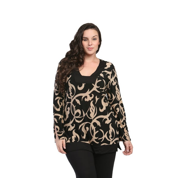 24/7 Comfort Apparel Women's Plus Size Cream and Black Abstract Printed Tunic