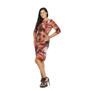 24/7 Comfort Apparel Women's Brush Stroke Print Wrap Knee-Length Dress
