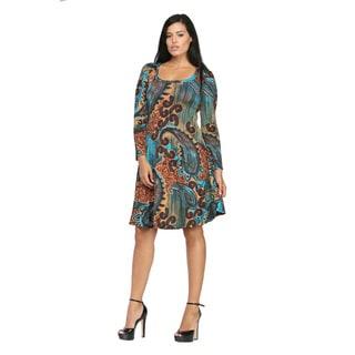 24/7 Comfort Apparel Women's Antique Paisley Printed Knee-Length Dress