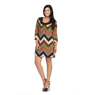 24/7 Comfort Apparel Women's Sandstone Chevron Printed Dress