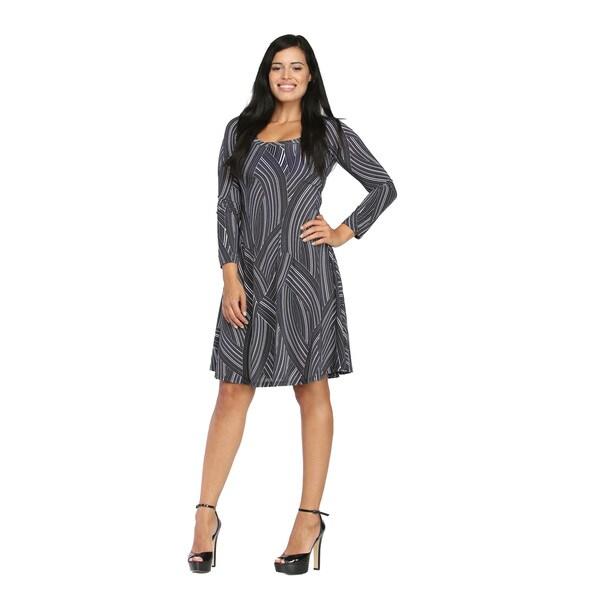 24/7 Comfort Apparel Women's Greyscale Brushstroke Printed Knee-Length Dress