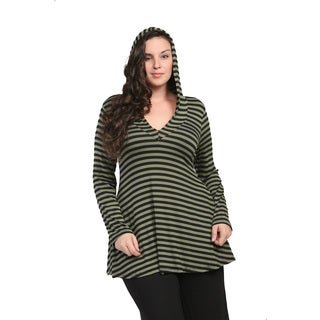 24/7 Comfort Apparel Women's Plus Size Mint Striped Hoodie