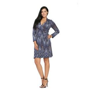 24/7 Comfort Apparel Women's Jagged Stripe Mosaic Wrap Knee-length Dress