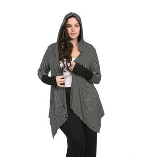 24/7 Comfort Apparel Women's Plus Size Striped Hooded Shrug