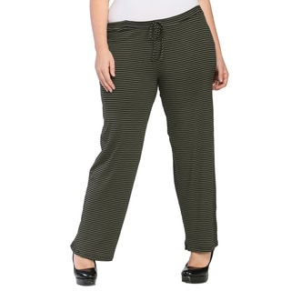 24/7 Comfort Apparel Women's Plus Size Striped Drawstring Narrow Pants