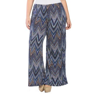 24/7 Comfort Apparel Women's Plus Size Jagged Stripe Mosaic Palazzo Pants