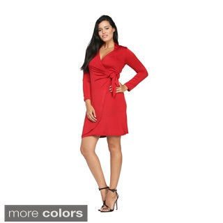 24/7 Comfort Apparel Women's Deep V-neck Long Sleeve Dress
