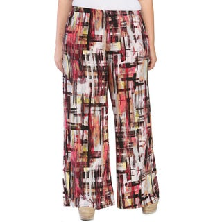 24/7 Comfort Apparel Women's Plus Size Geometric Art Studio Palazzo Pants