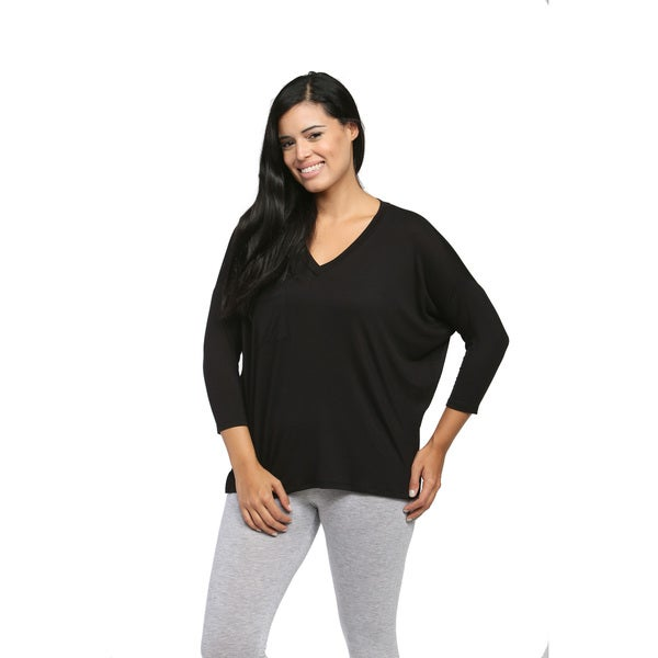 24/7 Comfort Apparel Women's Black Oversized Dolman Top