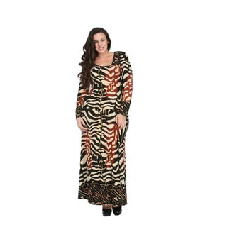24/7 Comfort Apparel Women's Plus Size Abstract Animal Print Long Sleeve Maxi Dress