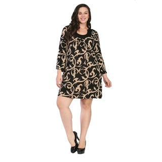 24/7 Comfort Apparel Women's Plus Size Cream and Black Printed Dress