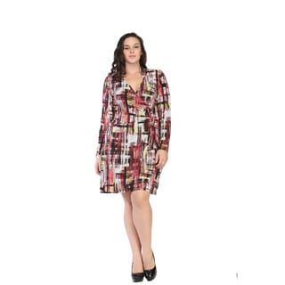 24/7 Comfort Apparel Women's Plus Size Geometric Art Studio Dress