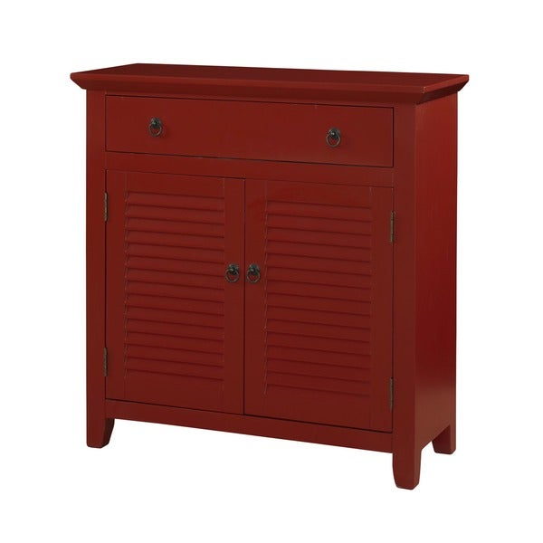 Powell Red Wood 1-drawer/ 2-door Red Shutter Table