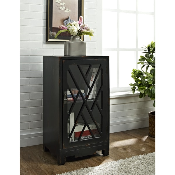 Powell Glass and Chippendale Black Side Table