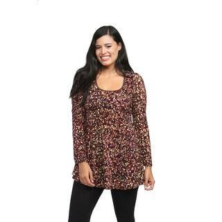 24/7 Comfort Apparel Women's Polka-dot Printed Tunic