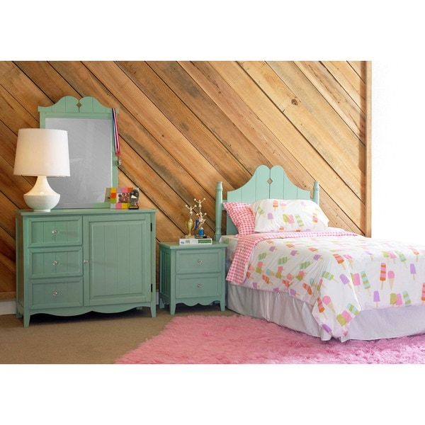 Powell Gabby Aqua Green Twin Bed in a Box