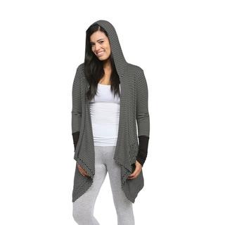 24/7 Comfort Apparel Women's Striped Hooded Shrug