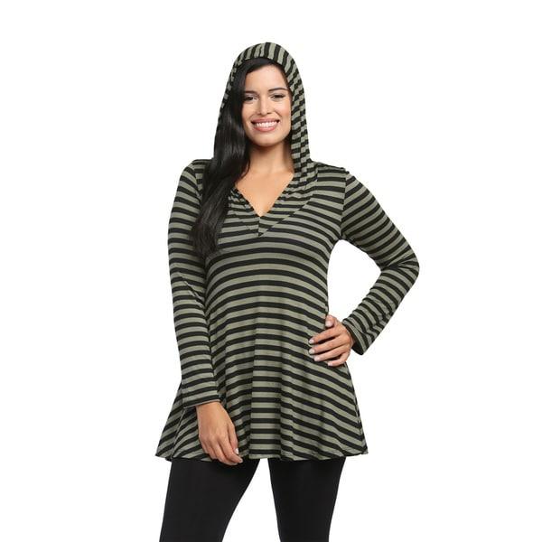 24/7 Comfort Apparel Women's Mint Striped Hoodie