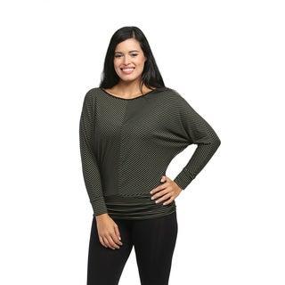 24/7 Comfort Apparel Women's Green/ Black Striped Dolman-sleeve Banded Top