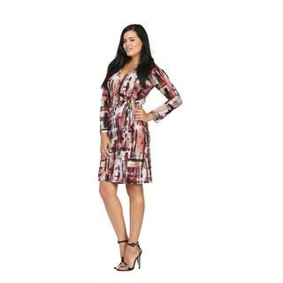 24/7 Comfort Apparel Women's Geometric Art Studio Knee-length Dress