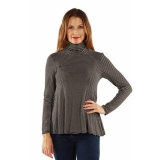 24/7 Comfort Apparel Women's Striped Turtleneck Sweater