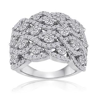 10k White Gold 3ct TDW Diamond Pave Anniversary Right Hand Ring (H-I, I2-I3)