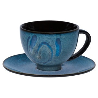Vanilla Organic Blue Tea Cup and Saucer Set (Set of 12)