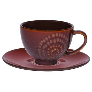 Vanilla Organic Brown Tea Cup and Saucer Set (Set of 12)