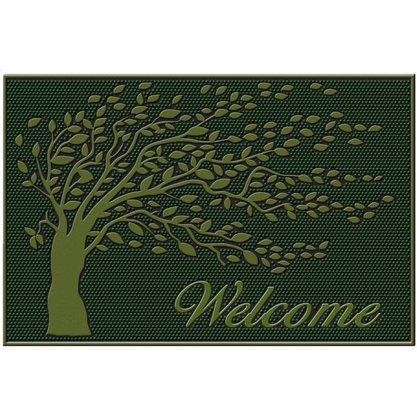 Green 'Shredding Leaf' Rubber Mat