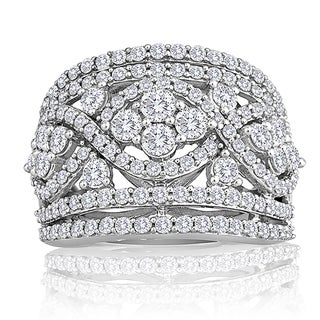 10k White Gold 2ct TDW Diamond Pave Anniversary Right Hand Ring (H-I, I2-I3)