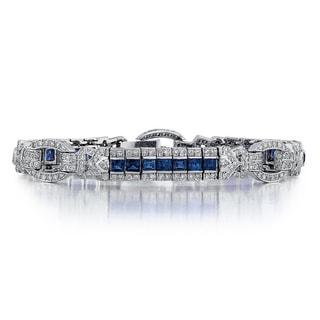 14k White Gold 1/2ct TDW Diamond and Sapphire Bracelet (G-H, SI1-SI2)