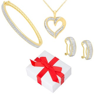 Finesque Yellow Gold Overlay Diamond 3-piece Jewelry Set