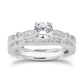 Bliss 14k White Gold 7/8ct TDW Vintage Pave Diamond Bridal Set (G-H, I1-I2)