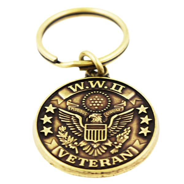Commemorative WWII Veteran Military Keychain