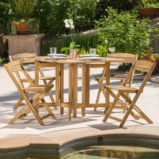 Christopher Knight Home Riviera Outdoor 5-piece Wood Folding Table and Chair Set