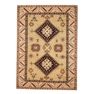 Herat Oriental Indo Hand-knotted Kazak Light Green/ Ivory Wool Rug (5'10 x 8'1)