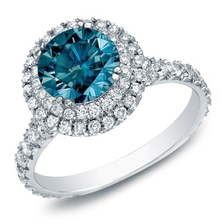 Auriya 14k Gold 2ct TDW Blue Halo Split-shank Round Diamond Engagament Ring (SI1-SI2)