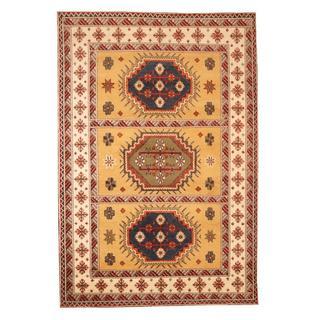 Herat Oriental Indo Hand-knotted Kazak Gold/ Ivory Wool Rug (5'9 x 8'4)