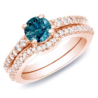 Auriya 14k Rose Gold 1ct TDW Blue Diamond Bridal Ring Set (SI1-SI2)