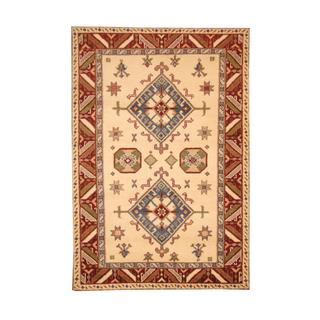 Herat Oriental Indo Hand-knotted Kazak Ivory/ Burgundy Wool Rug (5'8 x 8'2)