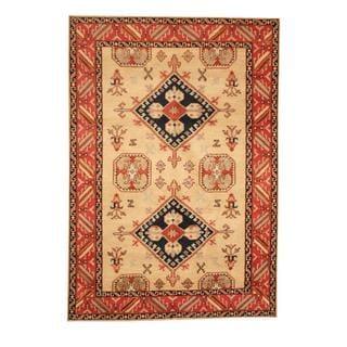 Herat Oriental Indo Hand-knotted Kazak Ivory/ Red Wool Rug (5'9 x 8'1)