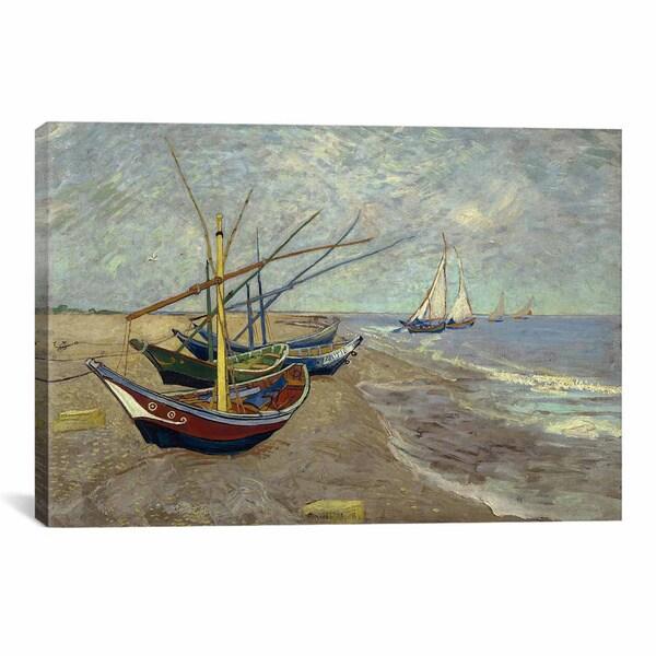 Vincent van Gogh 'Fishing Boats on the Beach at les Saintes Maries de la Mer Canvas Print Wal