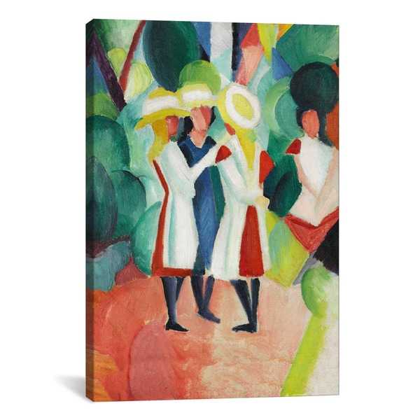 August Macke 'Three Girls in Yellow Straw Hats' Canvas Print Wall Art