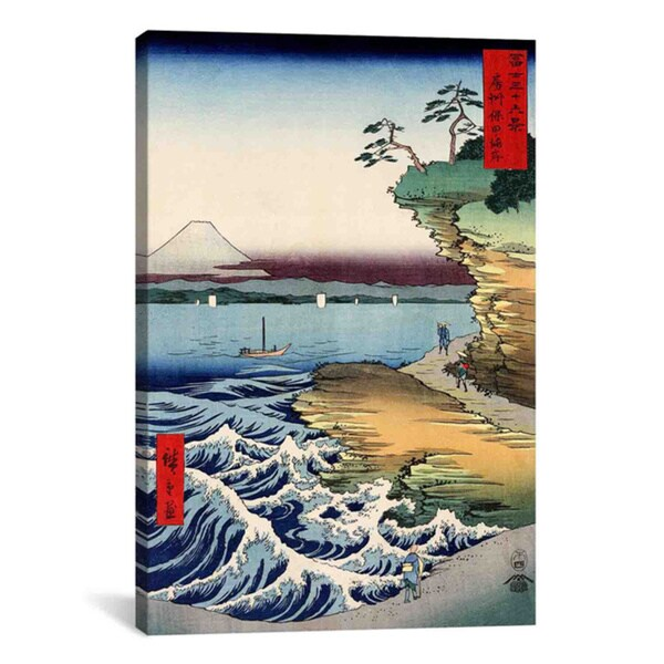 Utagawa Hiroshige l 'The Coast at Hota in Awa Province' Canvas Print Wall Art