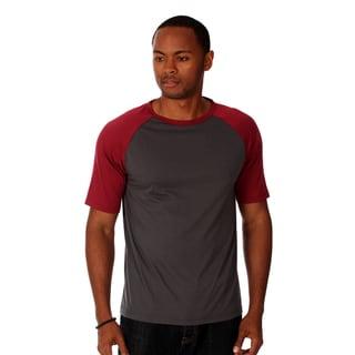 Oxymoron Men's Grey and Black Cotton Raglan T-shirt