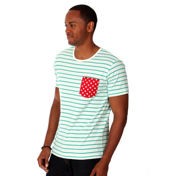 Oxymoron Men's Olive Cotton Contrast Pocket T-shirt
