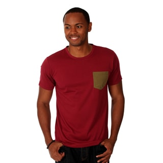 Oxymoron Men's Merlot Cotton T-shirt with Contrast Chest Pocket