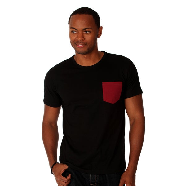 Oxymoron Men's Black Contrast-pocket Cotton T-shirt